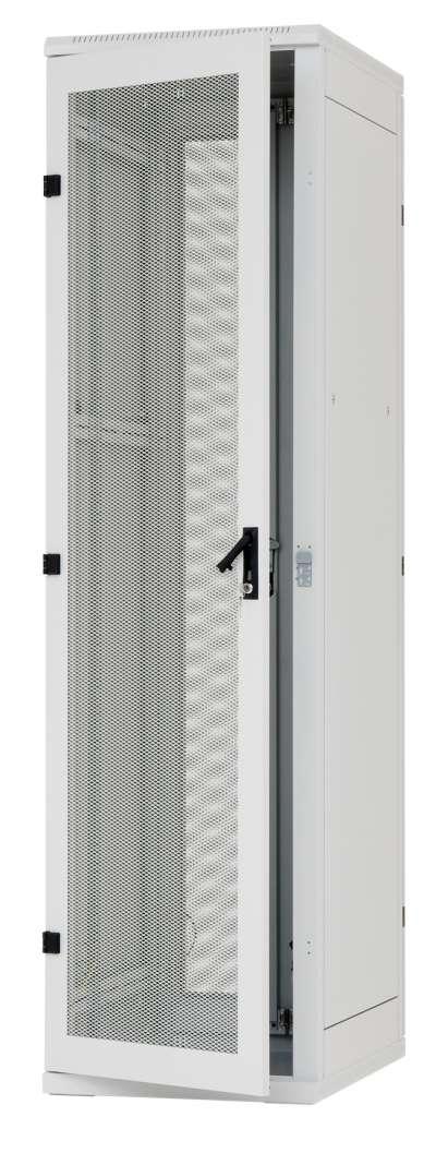 42U 19' Стоящ комуникационен шкаф. Размери: височина 1970мм; ширина 600мм; дълбочина 1000мм. Товароносимост 400кг. Предна и задна перфорирана врата 80%. Цвят: сив