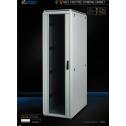 22U 19'  Стоящ комуникационен шкаф. Размери: височина 1164мм; широчина 610мм; дълбочина 1000мм. Товароносимост: 2000 кг. Предна стъклена врата. Метален гръб.