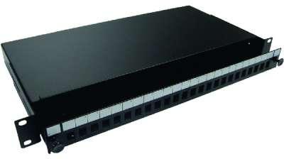 19' 1U оптичен пач панел за до 24 SC/PC Simplex адаптера, телескопичен, празен