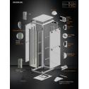 42U 19'  Стоящ комуникационен шкаф. Размери: височина 2053мм; широчина 800мм; дълбочина 1000мм. Товароносимост: 2000 кг. Предна стъклена врата. Метален гръб.
