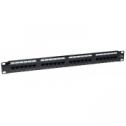 24 порт UTP кат. 5Е пач панел, тип 110, зареден, черен