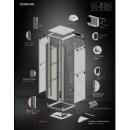 36U 19'  Стоящ комуникационен шкаф. Размери: височина 1786мм; широчина 610мм; дълбочина 610мм.  Товароносимост: 2000 кг. Предна стъклена врата. Метален гръб.