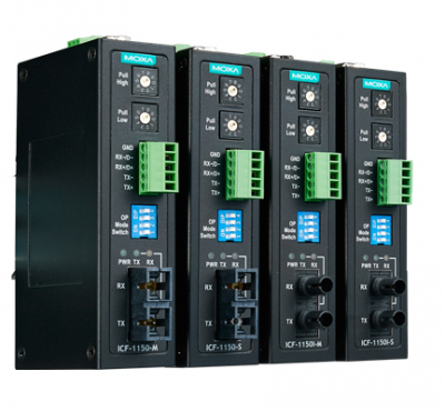 Индустриален медия конвертор RS-232/422/485 to Fiber Optic, ST Single mode connector, with 2kV 2-way Galvanic Isolation