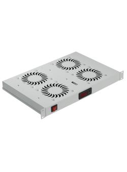 1U 19' Вентилаторен блок с 2 вентилатора и аналогов термостат