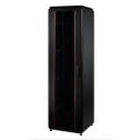 32U 19'  Стоящ комуникационен шкаф, в. 1608 мм,  ш. 600мм, д. 600мм, стъклена врата, 2000 кг., черен