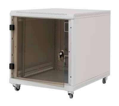 12U 19' Стоящ комуникационен шкаф, тип контейнер. Размери: височина 620мм; широчина 600мм; дълбочина 1000мм. Товароносимост 200кг. Предна перфорирана врата. Цвят: сив