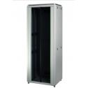 32U 19'  Стоящ комуникационен шкаф, в. 1608 мм,  ш. 600мм, д. 600мм, стъклена врата, 2000 кг., бял