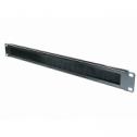 1U 19' Аранжиращ панел, хоризонтален, с четка, метален, , черен