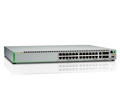 Allied Telesis AT-GS924MPX-50 Gigabit Ethernet Managed switch with 24 10/100/1000T POE ports, 2 SFP/Copper combo ports, 2 SFP/SFP+ uplink slots, single fixed AC power supply