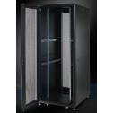 42U 19'  Стоящ комуникационен/сървърен шкаф. Размери: височина 2028мм; широчина 610мм; дълбочина 1000мм. Товароносимост: 2000 кг. Перфорирани врати. Цвят: черен