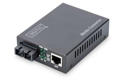 DIGITUS Media Конвертор, Multimode 10/100Base-TX to 100Base-FX, Incl. PSU SC connector, Up to 2km