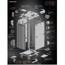 42U 19'  Стоящ комуникационен/сървърен шкаф. Размери: височина 2028мм; широчина 800мм; дълбочина 1000мм. Товароносимост: 2000 кг. Перфорирани врати. Цвят: светло сив