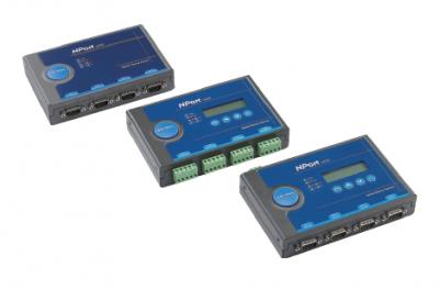4 - портов индустриален медия конвертор, 10/100Mb Ethernet към RS-232, DB9 male, 15KV ESD, 12-48 VDC
