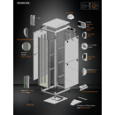 42U 19'  Стоящ комуникационен шкаф. Размери: височина 2053мм; широчина 610мм; дълбочина 800мм. Товароносимост: 2000 кг. Предна стъклена врата. Метален гръб.