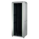 22U 19'  Стоящ комуникационен шкаф. Размери: височина 1164мм, широчина 610мм; дълбочина 610мм. Товароносимост: 1000 кг. Предна стъклена врата. Метален гръб