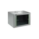 9U 19' Стенен комуникационен шкаф. Размери: височина 512мм;  широчина 600мм; дълбочина 450мм. Товароносимост 80кг. Предна стъклена врата. Метален гръб. Фиксирани страници. Цвят: светло сив.